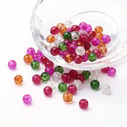 Perles de verre craquelé peintes, noël mélange, rond, couleur mixte, 6~6.5x5.5~6mm, trou: 1 mm; environ 200 PCs / sachet (DGLA-X0006-6mm-09)