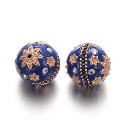 Perles rondes d'indonésie manuelles, avec des strass et des accessoires en alliage plaqué or, bleu, 24mm, Trou: 2mm(IPDL-L001-02B)