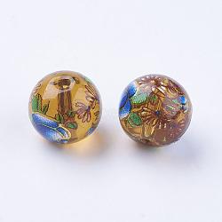Fleur photo perles de verre imprimé, rond, Pérou, 10x9mm, Trou: 1.5mm(GLAA-E399-10mm-F08)