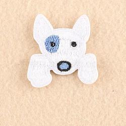 chiot tissu de broderie informatisé fer / coudre sur les patchs, accessoires de costumes, appliques, tête de chien terrier, blanc, 3.9x3.7 cm(X-DIY-F030-16O)