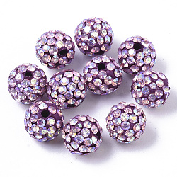 Pave Disco Ball Beads, Polymer Clay Pave Rhinestone Beads, Round, Crystal AB, Lilac, PP13(1.9~2mm), 6 Rows Rhinestone; 10x9mm, Hole: 1.6mm(RB-T017-04-01)