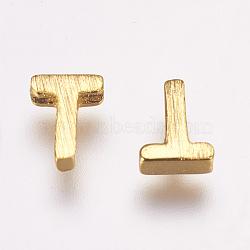 Breloques en laiton, letter.t, 6x4.5x2mm, Trou: 1mm(KK-P081-T)