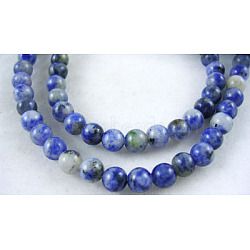 Natural Blue Spot Jasper Beads, Round, CornflowerBlue, 4mm, Hole: 0.8mm; about 87pcs/strand, 15inches(X-GSR4mmC036)