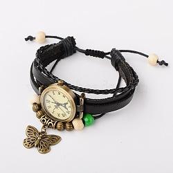 Cadeaux valentines pour lui 2015 bracelets de montres alliage de Shambhala, cordon en cuir avec des perles de bois colorés et des pendentifs en alliage papillon, bronze antique, noir, 48~75mm(BJEW-JB01463)