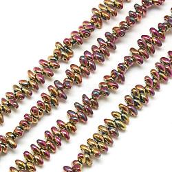 Galvaniser les brins de perles de semis à 2 trou, Perles de verre tchèques, flamant, 4.5~5x3~3.5x2~2.5mm, trou: 1mm; environ 336 pcs/chapelet, 23.2''(EGLA-S140-06)