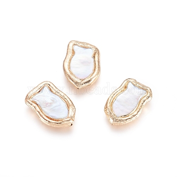 Natural Cultured Freshwater, with Golden Plated Brass Edge, White, 21~22x14~15x5mm, Hole: 0.7mm(X-PEAR-G010-02G)