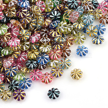 Plating Transparent Acrylic Beads, Metal Enlaced, Flower, Mixed Color, 6.5x6.5x3.5mm, Hole: 1mm(X-PACR-Q112-02)