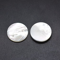 Cabochons en coquille, plat rond, blanc, 24.5~25x3.5~4mm(SSHEL-E567-15A)