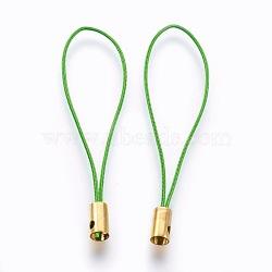 Нейлоновый шнур мобильные ремни, с фурнитурой латунной золотого тона, светло-зелёный, 50x4 мм; отверстие: 1.8 мм(MOBA-F005-03G-07)