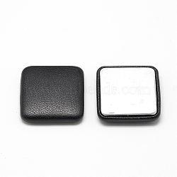 Cabochons recouverts de tissu imitation cuir, avec fond en aluminium, carrée, noir, 32.5x32.5x7mm(WOVE-S084-02B)