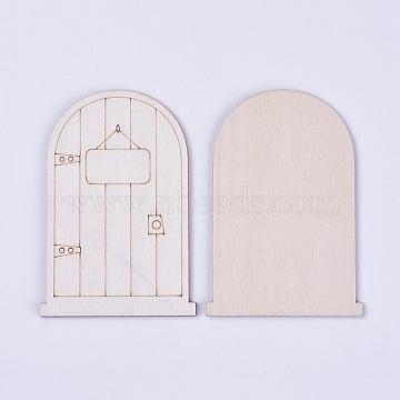 Wooden Fairy Door Decoration , Antique White, 8.8x6x0.2~0.3cm(WOOD-WH0017-02D)