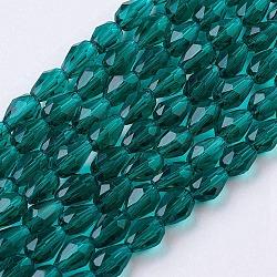 Чирок граненые стекла каплевидный бисер пряди, 6x4 мм, отверстие : 1 мм(X-GLAA-R024-6x4mm-16)