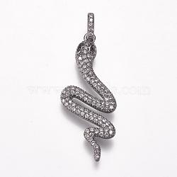 Pendentifs avec zircon cubiques à micro-pavés en laiton, serpent, gunmetal, clair, 36x15x2.5mm, Trou: 3x5mm(X-ZIRC-K074-26-03B)