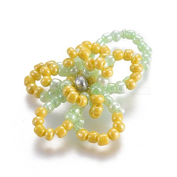 Glass Seed Beaded Stretch Rings, with Nylon Wire, Flower, Gold, 16~18mm(RJEW-JR00252-05)