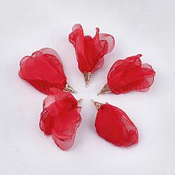большие подвески из полиэстера, с железом выводы, цветок, светлое золото, красный, 63~67x10 mm, отверстия: 1.5~2 mm(FIND-T051-04)