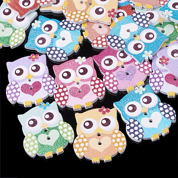 2-Hole Printed Wooden Buttons, Lead Free, Dyed, Owl, Mixed Color, 30x26x2.5mm, Hole: 2mm(X-BUTT-S022-12-LF)