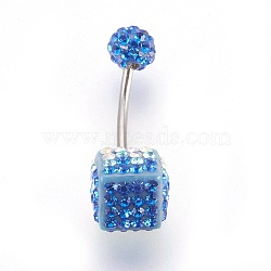 Austrian Crystal Belly Rings, with 316 Stainless Steel and Polymer Clay, Cube, 371_Violet, Size: Length: about 26mm long(X-SWAR-G008-371)