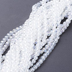 Glass Bead Strands, Round, AB Color Plated, Clear AB, 8mm, Hole: 1mm; about 42pcs/strand, 14inches(X-GR8mm-01Y-AB)