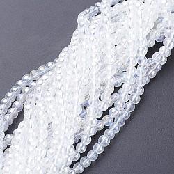 billes de verre brins, arrondir, ab couleur plaquée, clair ab, 8 mm, trou: 1 mm; environ 42 perle / brin, 14(X-GR8mm-01Y-AB)