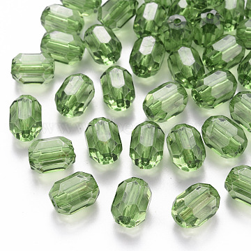 Transparent Acrylic Beads, Oval, Faceted, Yellow Green, 14x10x10mm, Hole: 2mm, about 450pcs/500g(TACR-S154-24A-83)