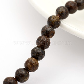Natural Bronzite Round Bead Strands, 8mm, Hole: 1mm; about 24pcs/strand, 7.5inches(G-M272-05-8mm)