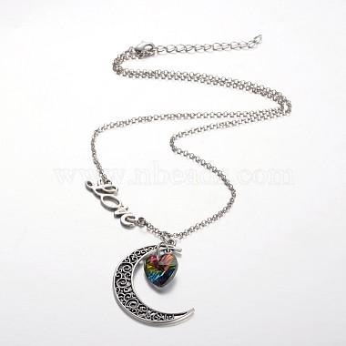 Tibetan Style Moon Alloy Pendant Necklaces(NJEW-JN01180)-2