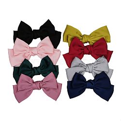 Cloth Alligator Hair Clips, with Iron Alligator Clips, Bowknot, Mixed Color, 210x140mm(OHAR-S197-064)