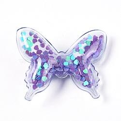 Pinces à cheveux en alligator en plastique, avec paillette et socle en fer platiné, papillon, violet, 41~42x52~53x12~13mm(PHAR-L005-G06)