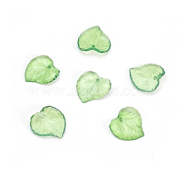 Green Transparent Acrylic Leaf Pendants for Chunky Necklace Jewelry, about 15mm long, 15mm wide, 2mm thick, Hole: 1.5mm(X-DBLA410-9)