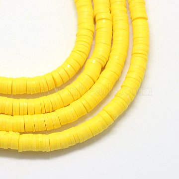 6mm Yellow Flat Round Polymer Clay Beads