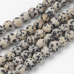 Dalmatien naturel Jasper brins de perles, rond, mat, 8~8.5mm, trou: 1mm; environ 45~47 pcs/chapelet, 14.9'' (38 cm)(G-G735-68F-8mm)