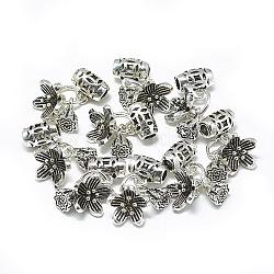 pendentifs thai 925 en argent sterling, gousse de fleur et de lotus, argent antique, 16 mm, trou: 2 mm(STER-T002-60AS)