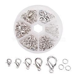 1 boîte fermoirs mousqueton en alliage de zinc et anneaux de jonction en fer accessoires à bijoux, platine, fermoirs: 10~20.5x6~13x3.5~5.5 mm, trou: 1~2 mm; environ 70 / boîte, anneaux de jonction: 6x1mm; environ 40~50pièces/boîte(PALLOY-X0004-B)