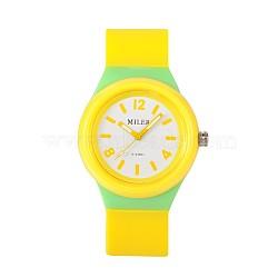Montres-bracelet à quartz en silicone en acier inoxydable pour enfants de haute qualité 304, jaune, 230x25 mm; tête de montre: 48x43x13 mm(WACH-N016-09)