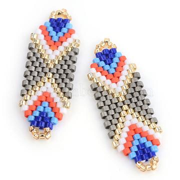 MIYUKI & TOHO Japanese Seed Beads, Handmade Links, Loom Pattern, Silver, 35.5~36.5x12x2mm, Hole: 1mm(X-SEED-S010-SP-26)