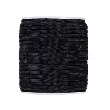 Polyester Cords, Black, 3~4mm; about 31m/roll(OCOR-WH0032-05)