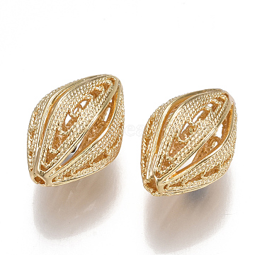Brass Filigree Beads, Hollow, Nickel Free, Real 18K Gold Plated, 18.5x12.5mm, Hole: 1.2mm(KK-S350-162G)
