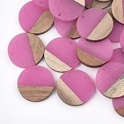 Pendentifs en résine et bois, plat rond, hotpink, 28.5x3.5~4mm, Trou: 1.5mm(X-RESI-S358-02B-05)