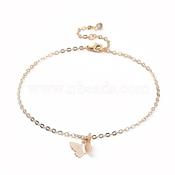 Brass Butterfly Charm Anklets, with Cable Chains, Crystal Rhinestone and Lobster Claw Clasps, Real 18K Gold Plated, 9-1/4 inches(23.5cm)(X-AJEW-AN00281-01)