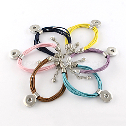 Хлопковые вощеной браслет материалы шнур оснастки, с латунной фурнитурой и железными цепочками, платина, разноцветные, 190 мм(BJEW-R061-M)