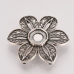 Настройки разъем сплава кабошон тибетском стиле, цветок, свинца, Старинное серебро, лоток: 10 мм; 32x36x6 мм, отверстия: 1 mm(X-TIBE-T011-77AS-LF)