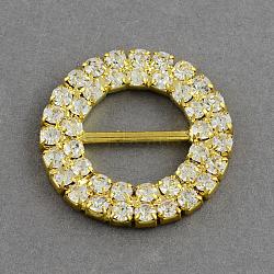 Brillant anneau de mariage ruban d'invitation boucles, grade A de laiton une lame de robe de vêtement cristal strass boucles, or, 27x3mm, Trou: 14x6.5mm(X-RB-R007-27mm-02)