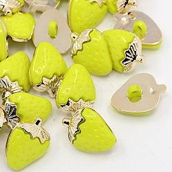 Boutons à queue fraise uv placage acryliques, 1-trou, métal couleur or, teint, greenyellow, 21x15x4.5mm, Trou: 3x4mm(BUTT-D013-07)