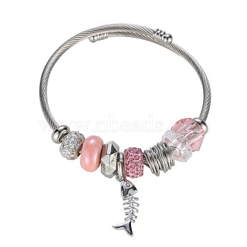 Brass European Bracelets, with Glass Beads, Rhinestone, Pink, Silver Color Plated, Fishbone(BJEW-BB36341)