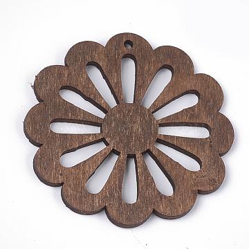 Dyed Wood Big Pendants, Flower, Coconut Brown, 50x50x2~2.5mm, Hole: 2mm(WOOD-T016-09B)