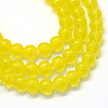 10mm Yellow Round Glass Beads