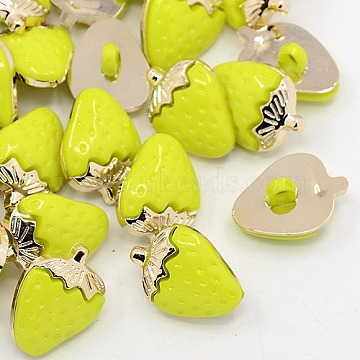 Strawberry UV Plating Acrylic Shank Buttons, 1-Hole, Golden Metal Color, Dyed, GreenYellow, 21x15x4.5mm, Hole: 3x4mm(BUTT-D013-07)