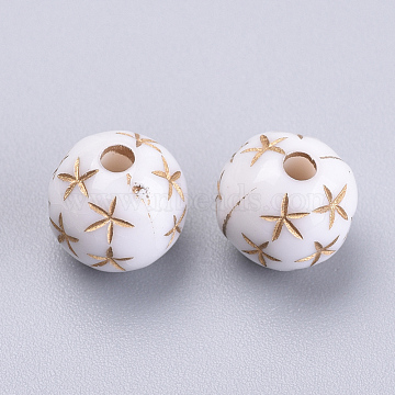 Plating Acrylic Beads, Metal Enlaced, Round with Star, White, 9.5x9mm, Hole: 2mm(X-OACR-S016-47A)