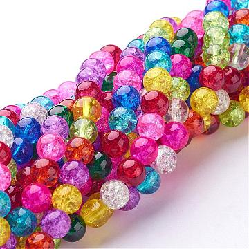 1 Strand Crackle Glass Beads Strands Girls Jewelry Crafts Making In Pink 8 MM