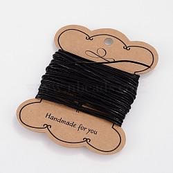 cordon de cuir de vachette , cordon en cuir de bijoux, noir, arrondir, teints, taille: environ 1 mm de diamètre(X-WL-H003-3)